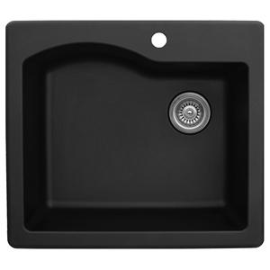 "25"" Top Mount Single Bowl Quartz Kitchen Sink Black Karran QT-671-BL"