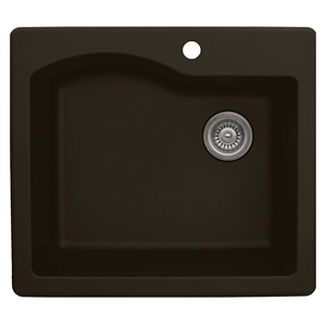 "Karran QT671-BROWN, 25"" x 22"" Quartz Sink Drop-in Style Large Single Bowl, Brown"