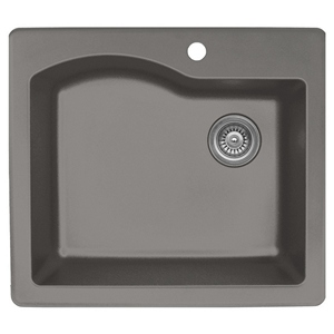"Karran QT671-CONCRETE, 25"" x 22"" Quartz Sink Drop-in Style Large Single Bowl, Concrete"