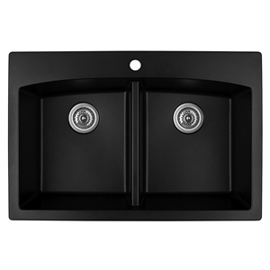 "33"" Top Mount Double Equal Bowl Quartz Kitchen Black Karran QT-710-BL"