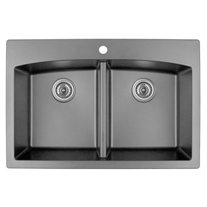 "Karran QT-710 GREY, 33"" x 22"" Quartz Top Mount Kitchen Sink Double Bowl, Grey"