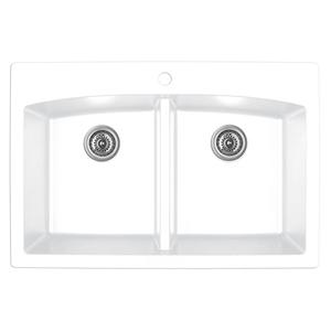 "Karran QT-710 WHITE, 33"" x 22"" Quartz Top Mount Kitchen Sink Double Bowl, White"
