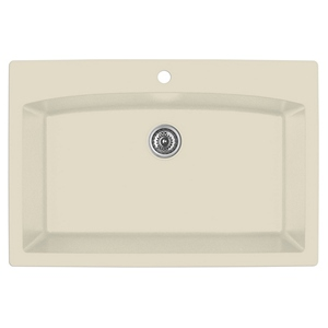 "Karran QT-712 BISQUE, 33"" x 22"" Quartz Top Mount Kitchen Sink Single Bowl, Bisque"