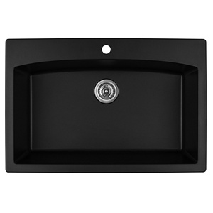 "Karran QT-712 BLACK, 33"" x 22"" Quartz Top Mount Kitchen Sink Single Bowl, Black"