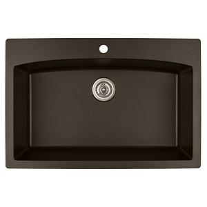"""Karran QT-712 BROWN, 33"""" x 22"""" Quartz Top Mount Kitchen Sink Single Bowl, Brown"""