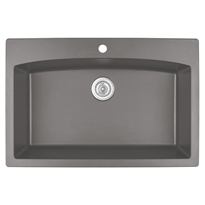 "Karran QT-712 CONCRETE, 33"" x 22"" Quartz Top Mount Kitchen Sink Single Bowl, Concrete"