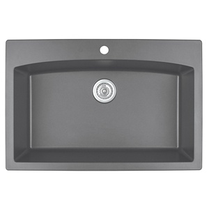 "33"" Top Mount Large Single Bowl Quartz Kitchen Sink Grey Karran QT-712-GR"
