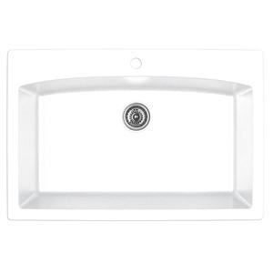 "33"" Top Mount Large Single Bowl Quartz Kitchen Sink White Karran QT-712-WH"
