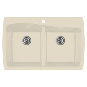 "Karran QT-720 BISQUE, 34"" x 22"" Quartz Top Mount Kitchen Sink Double Bowl, Bisque"