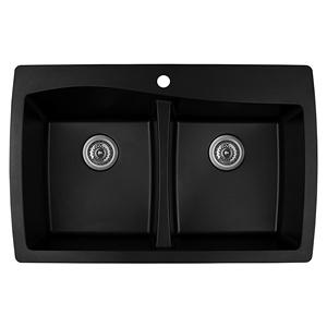 "Karran QT-720 BLACK, 34"" x 22"" Quartz Top Mount Kitchen Sink Double Bowl, Black"
