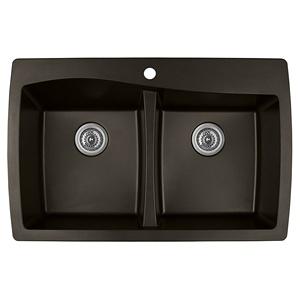 "Karran QT-720 BROWN, 34"" x 22"" Quartz Top Mount Kitchen Sink Double Bowl, Brown"