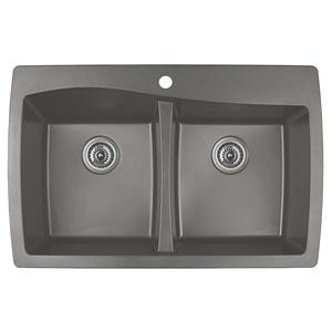 """34"""" Top Mount Double Equal Bowl Quartz Kitchen Sink Concrete Karran QT-720-CN"""