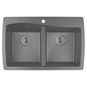 "Karran QT-720 GREY, 34"" x 22"" Quartz Top Mount Kitchen Sink Double Bowl, Grey"