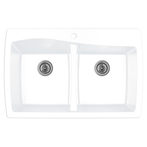 "Karran QT-720 WHITE, 34"" x 22"" Quartz Top Mount Kitchen Sink Double Bowl, White"