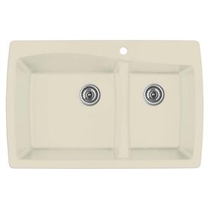 """Karran QT-721 BISQUE, 34"""" x 22"""" Quartz Top Mount Kitchen Sink Double Bowl, Bisque"""