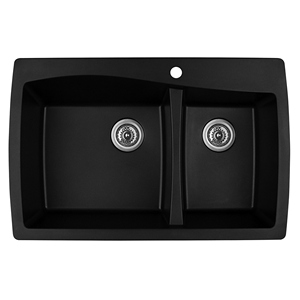 "Karran QT-721 BLACK, 34"" x 22"" Quartz Top Mount Kitchen Sink Double Bowl, Black"