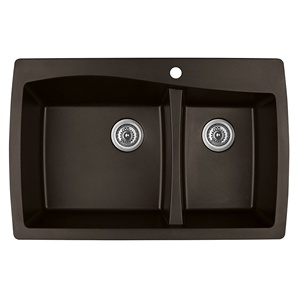 "Karran QT-721 BROWN, 34"" x 22"" Quartz Top Mount Kitchen Sink Double Bowl, Brown"