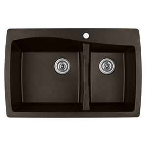 "34"" Top Mount Large/Small Bowl Quartz Kitchen Sink Brown Karran QT-721-BR"