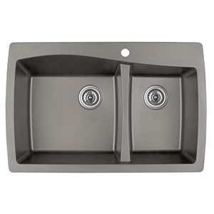"Karran QT-721 CONCRETE, 34"" x 22"" Quartz Top Mount Kitchen Sink Double Bowl, Concrete"
