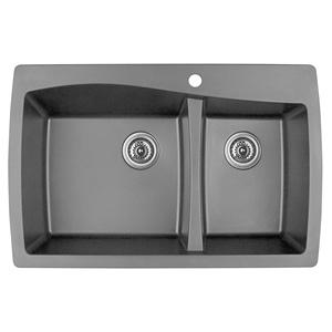 "Karran QT-721 GREY, 34"" x 22"" Quartz Top Mount Kitchen Sink Double Bowl, Grey"