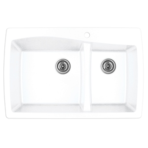 "Karran QT-721 WHITE, 34"" x 22"" Quartz Top Mount Kitchen Sink Double Bowl, White"