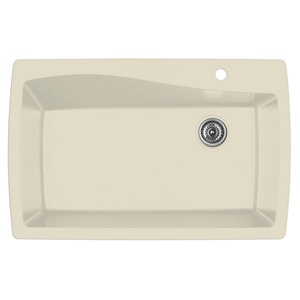 "Karran QT-722 BISQUE, 34"" x 22"" Quartz Top Mount Kitchen Sink Single Bowl, Bisque"