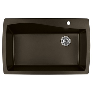 "34"" Top Mount Large Single Bowl Quartz Kitchen Sink Brown Karran QT-722-BR"