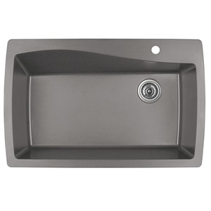 "Karran QT-722 CONCRETE, 34"" x 22"" Quartz Top Mount Kitchen Sink Single Bowl, Concrete"