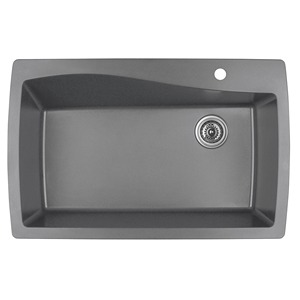 "Karran QT-722 GREY, 34"" x 22"" Quartz Top Mount Kitchen Sink Single Bowl, Grey"