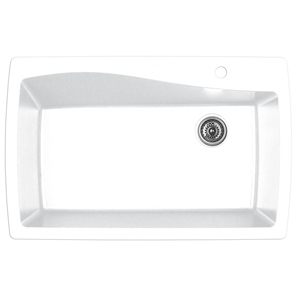"Karran QT-722 WHITE, 34"" x 22"" Quartz Top Mount Kitchen Sink Single Bowl, White"