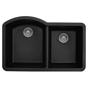 "Karran QU610-BLACK, 32"" x 21"" Quartz Sink Undermount Style Large/Small Double Bowls, Black"