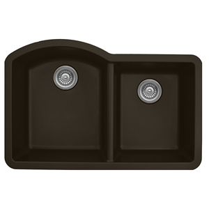 "Karran QU610-BROWN, 32"" x 21"" Quartz Sink Undermount Style Large/Small Double Bowls, Brown"
