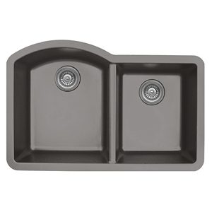 "Karran QU610-CONCRETE, 32"" x 21"" Quartz Sink Undermount Style Large/Small Double Bowls, Concrete"