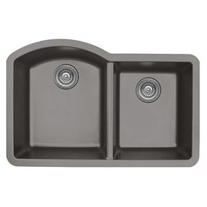 """32"""" Undermount Large/Small Bowl Quartz Kitchen Sink Concrete Karran QU-610-CN"""