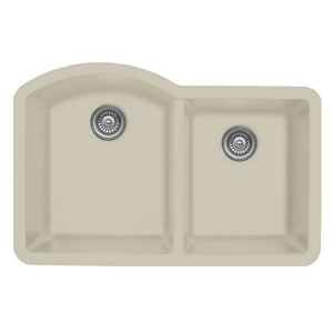 "Karran QU610-BI, 32"" x 21"" Quartz Sink Undermount Style Large/Small Double Bowls, Bisque"