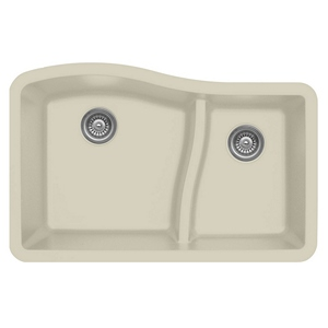 "Karran QU630-BI, 32"" x 21"" Quartz Sink Undermount Style Large/Small Double Bowls, Bisque"