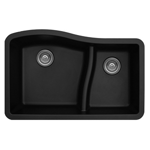 "Karran QU630-BLACK, 32"" x 21"" Quartz Sink Undermount Style Large/Small Double Bowls, Black"