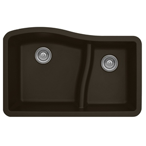 "Karran QU630-BROWN, 32"" x 21"" Quartz Sink Undermount Style Large/Small Double Bowls, Brown"