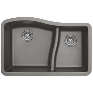 """32"""" Undermount Large/Small Bowl Quartz Kitchen Sink Concrete Karran QU-630-CN"""