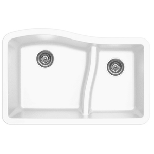 "Karran QU630-WH, 32"" x 21"" Quartz Sink Undermount Style Large/Small Double Bowls, White"