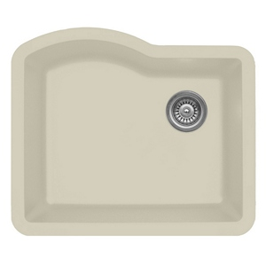 "Karran QU671-BI, 24"" x 21"" Quartz Sink Undermount Style Large Single Bowl, Bisque"