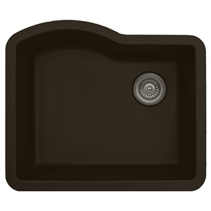 "Karran QU671-BROWN, 24"" x 21"" Quartz Sink Undermount Style Large Single Bowl, Brown"