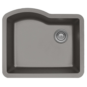 """Karran QU671-CONCRETE, 24"""" x 21"""" Quartz Sink Undermount Style Large Single Bowl, Concrete"""