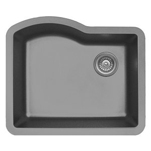 "Karran QU671-GREY, 24"" x 21"" Quartz Sink Undermount Style Large Single Bowl, Grey"