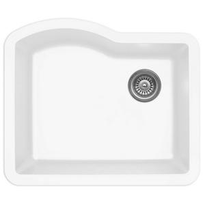 "24"" Undermount Single Bowl Quartz Kitchen Sink White Karran QU-671-WH"