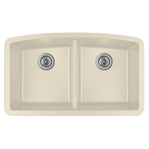 "Karran QU-710 BISQUE, 32-1/2"" x 19-1/2"" Quartz Undermount Kitchen Sink Double Bowl, Bisque"