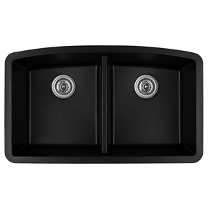 "32"" Undermount Double Equal Bowl Quartz Kitchen Sink Black Karran QU-710-BL"