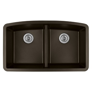 "Karran QU-710 BROWN, 32-1/2"" x 19-1/2"" Quartz Undermount Kitchen Sink Double Bowl, Brown"