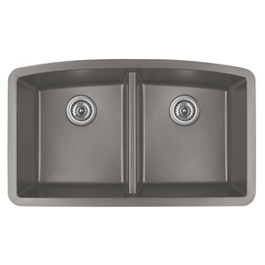 "Karran QU-710 CONCRETE, 32-1/2"" x 19-1/2"" Quartz Undermount Kitchen Sink Double Bowl, Concrete"