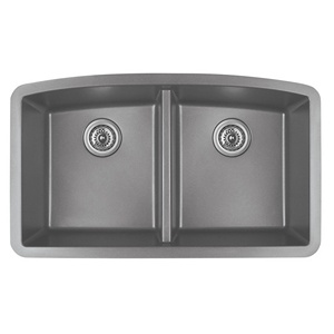 "Karran QU-710 GREY, 32-1/2"" x 19-1/2"" Quartz Undermount Kitchen Sink Double Bowl, Grey"